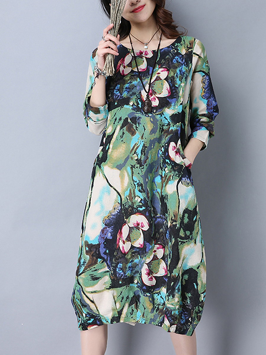 Round Neck Printed Midi Shift Dress