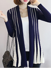 Collarless  Patchwork  Striped  Long Sleeve Cardigans