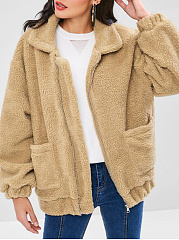 Fold-Over Collar  Slit Pocket Zips  Plain  Puff Sleeve  Long Sleeve Coats