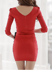Sweet Heart  Plain  Blend Bodycon Dress