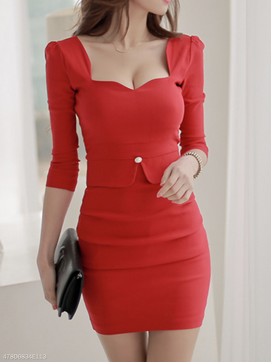 ed903ea7cd3 Sweet Heart Plain Blend Bodycon Dress - fashionMia.com