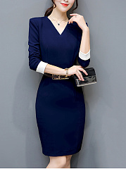 V-Neck Belt Bodycon Dress With Contrast Cuff