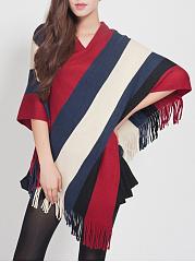 V-Neck-Striped-Fringe-Cape-Sleeve-Sweater
