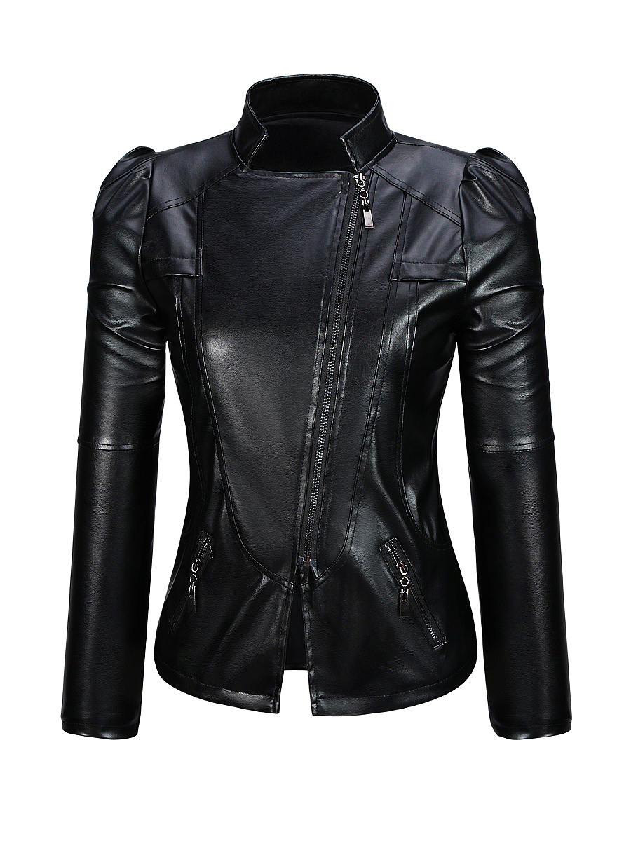 Puff Sleeve Band Collar Zips  Plain Biker Jacket
