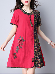 Round-Neck-Color-Block-Floral-Printed-CottonLinen-Shift-Dress