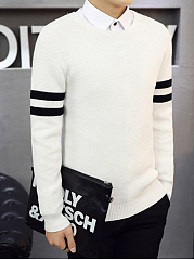 Round Neck Contrast Striped Men'S Sweater