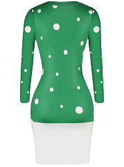 Christmas Reindeer Printed Round Neck Bodycon Dress
