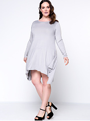 Asymmetric Hem Pocket  Plain Round Neck Casual Plus Size Shift Dress