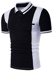 Polo Collar  Color Block  Short Sleeve Polos