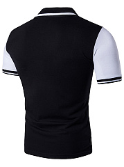 Polo Collar  Color Block Men T-Shirt