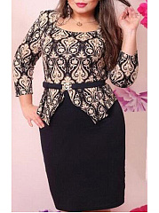 Square Neck  Vintage Printed Plus Size Bodycon Dresses