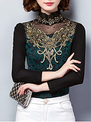 High-Neck-Beading-See-Through-Floral-Long-Sleeve-T-Shirts