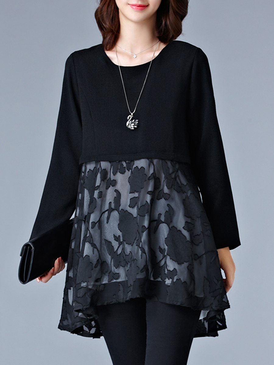 Round Neck Patchwork Long Sleeve Shift Dress