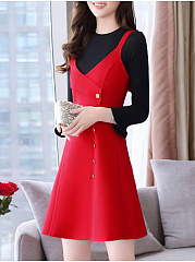 Round Neck  Decorative Button  Colouring Skater Dress