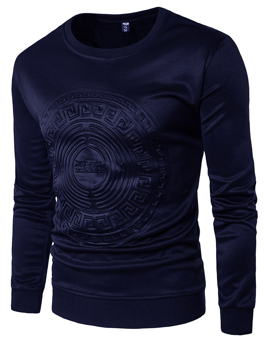 Round Neck  Embossed Plain Men T-Shirt