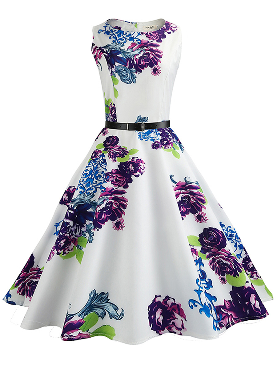 Round Neck Floral Printed Belt Midi Skater Dress