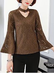 Band-Collar-Lace-Cutout-Hollow-Out-Plain-Bell-Sleeve-Blouse
