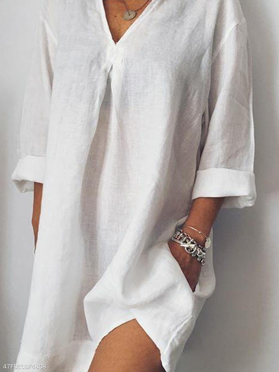 e21de0a928a V-Neck Linen Plain Shift Dress - fashionMia.com