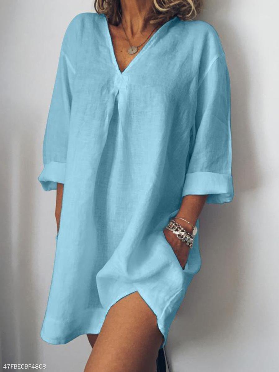 3ff7bcdfcdd V-Neck Linen Plain Shift Dress - fashionMia.com