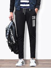 Elastic-Waist-Number-Striped-Slim-Leg-Mens-Casual-Pants