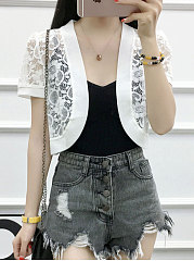 Asymmetric Hem See-Through  Plain  Short Sleeve Cardigans