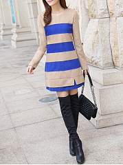 Round Neck  Color Block Striped Shift Dress