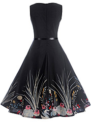 Round Neck  Belt Floral Swan Printed Skater Dress