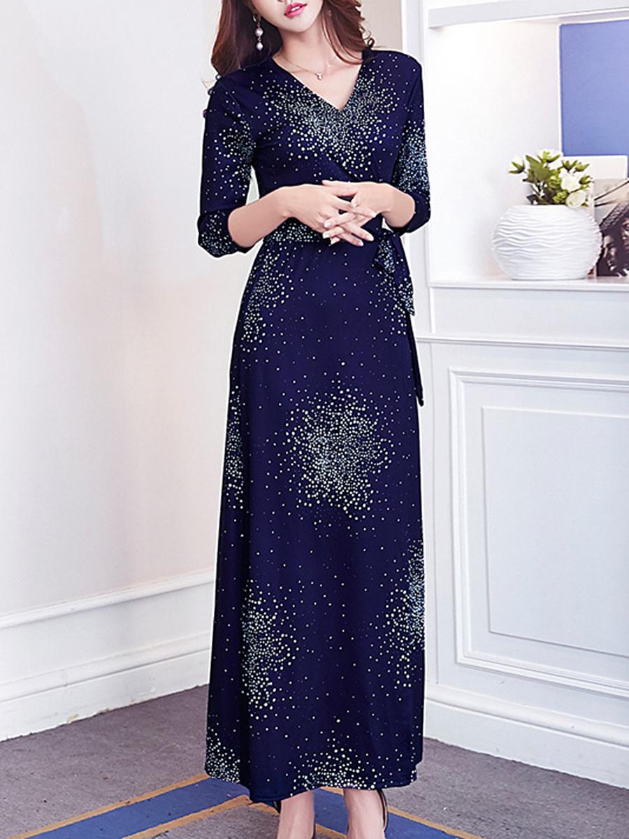 V-Neck High Slit Bowknot Printed Maxi Dress