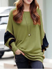 Autumn Spring  Cotton Blend  Women  Round Neck  Color Block  Batwing Sleeve Long Sleeve T-Shirts
