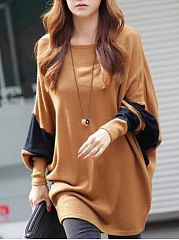 Autumn-Spring-Cotton-Blend-Round-Neck-Color-Block-Batwing-Sleeve-Half-Sleeve-Long-Sleeve-T-Shirts