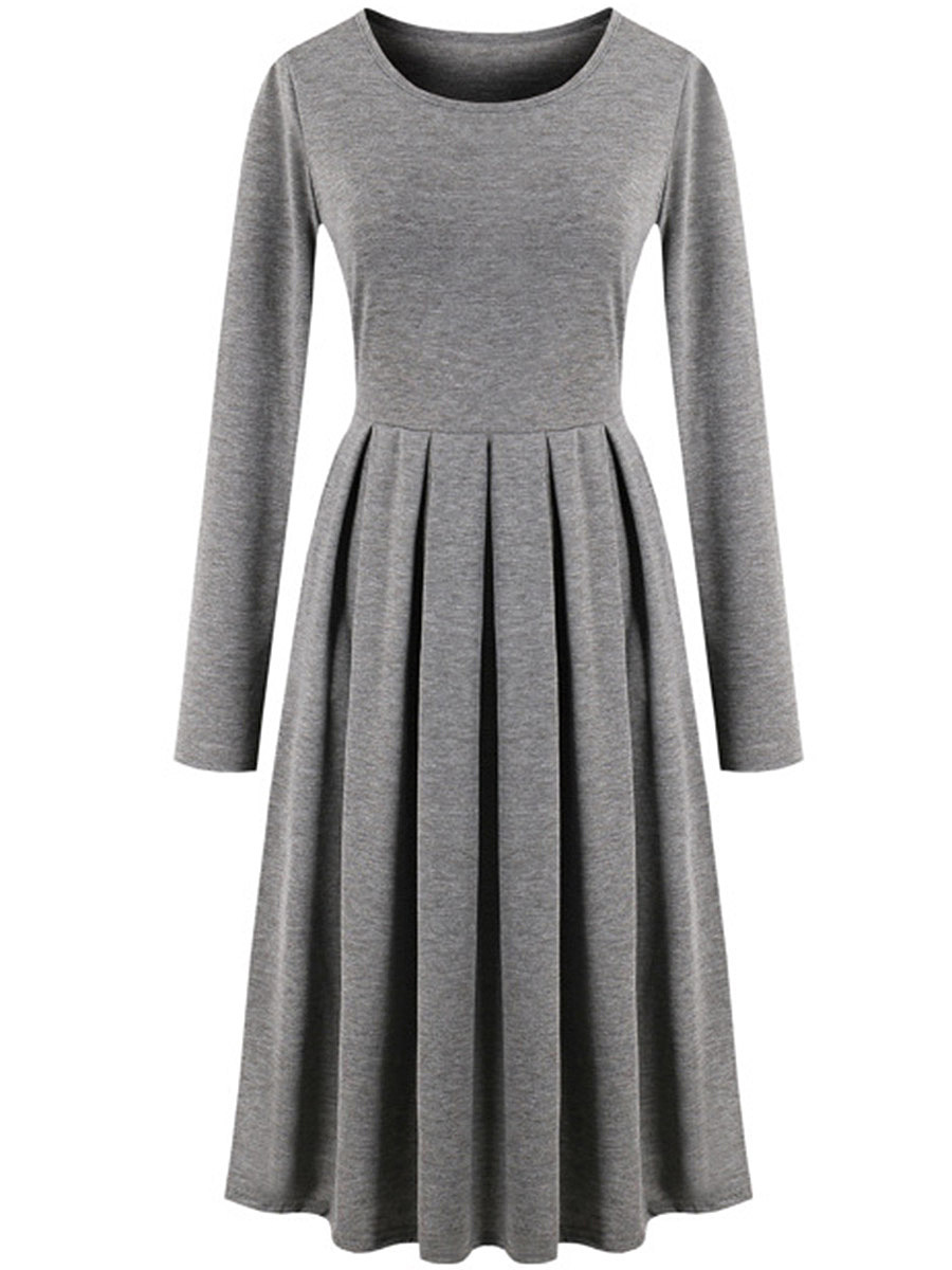 Round Neck  Inverted Pleat  Plain Casual Skater Dress