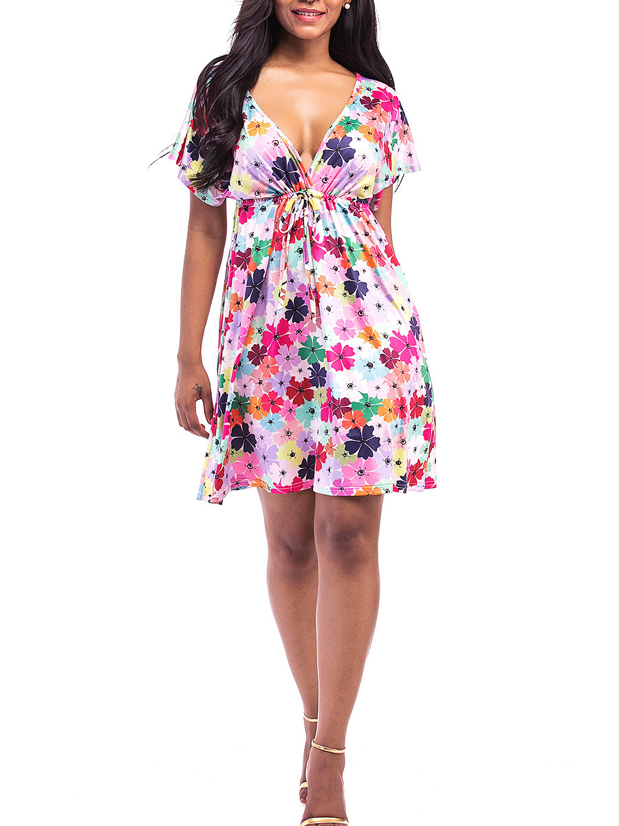 Colorful Floral Printed Deep V-Neck Empire Skater Dress