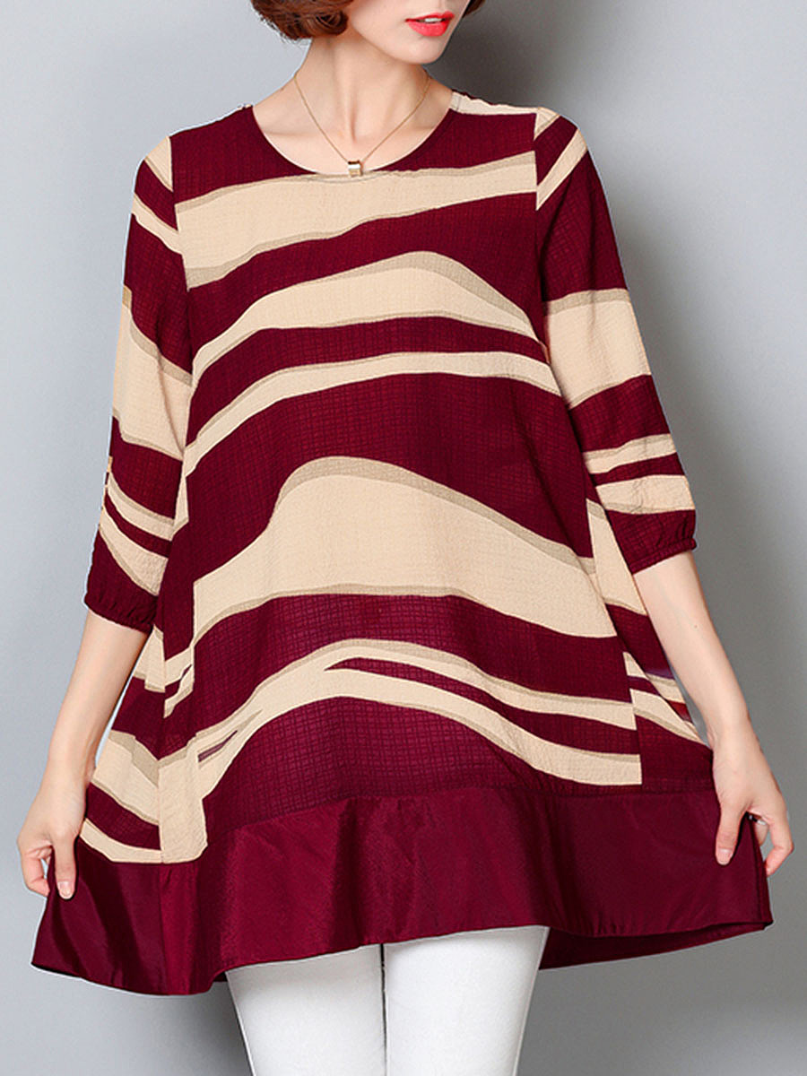 Asymmetric Stripe Round Neck Short Sleeve T-Shirt