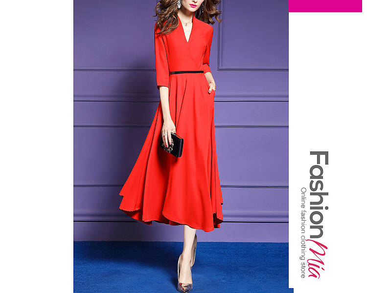 thickness:regular, style:fashion, material:polyester, collar&neckline:surplice, sleeve:half sleeve, more_details:belt, pattern_type:plain, length:calf-length, how_to_wash:cold gentle machine wash, supplementary_matters:all dimensions are measured manually with a deviation of 2 to 4cm., occasion:date, season:autumn,winter, dress_silhouette:empire line, package_included:belt*1,dress*1, shoulderbustwaist
