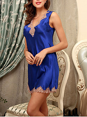Deep V-Neck Decorative Lace Satin Nightgown