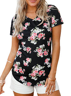 Summer  Polyester  Women  V-Neck  Asymmetric Hem  Floral Printed Short Sleeve T-Shirts