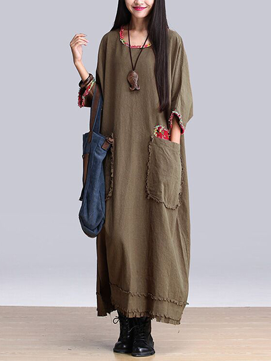 Oversized Contrast Trim Patch Pocket Maxi Dress