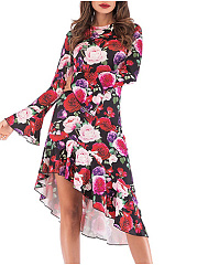 Round Asymmetric Neck  Floral Skater Dress
