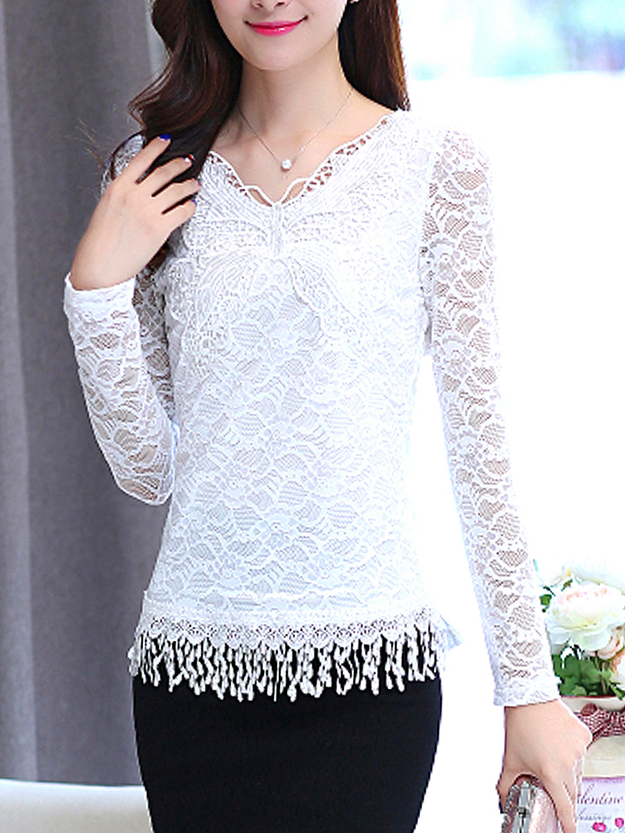 V-Neck Lace Hollow Out Plain Fringe Blouse