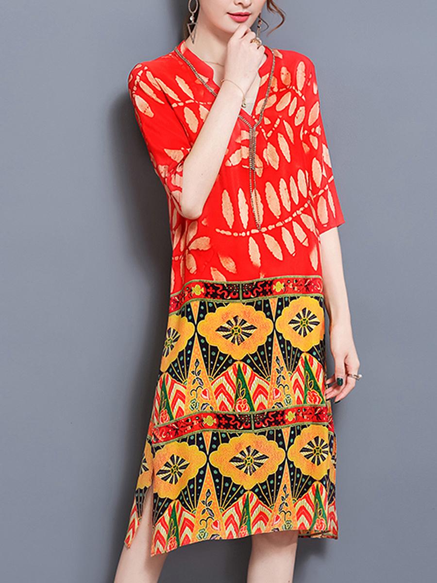 V-Neck  Printed Shift Dress
