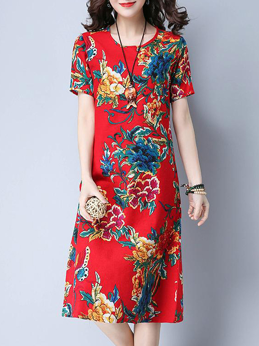 Round Neck  Floral Printed Stunning Shift Dress