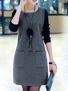 Round Neck  Slit Pocket  Color Block Shift Dress
