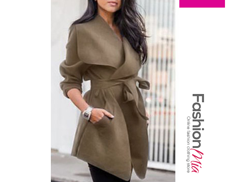 Lapel Belt Plain Long Sleeve Trench Coats - $27.95