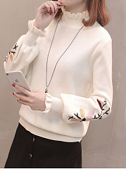High Neck  Embroidery Plain  Long Sleeve Sweaters Pullover