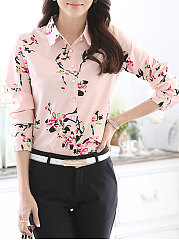 Autumn Spring  Polyester  Women  Turn Down Collar  Single Breasted  Floral Printed  Long Sleeve Blouses