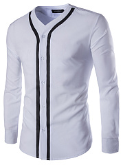 Single Breasted Contrast Piping Men Shirts