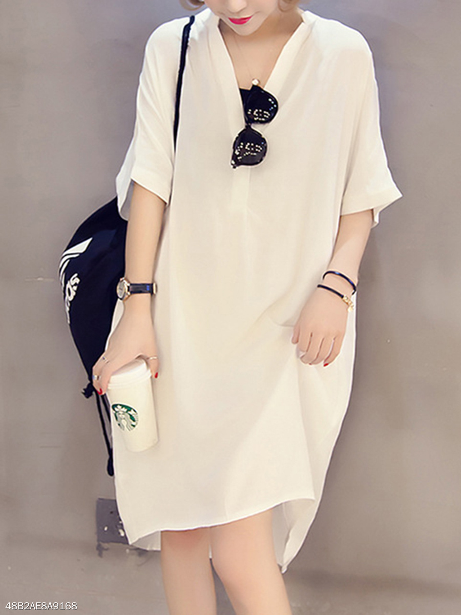 Split Neck Casual  Plain Shift Dresses