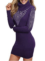 High Neck Rhinestone Plain Mini Bodycon Dress
