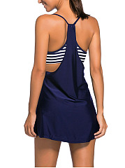 Spaghetti Strap  Cutout  Striped Swim Top