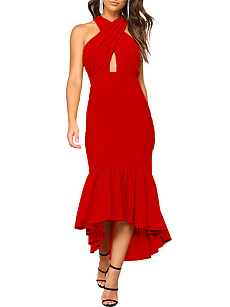 V-Neck Cutout Ruffled Hem Plain Mermaid Evening Dress